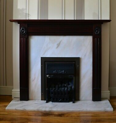 £55 • Buy  Mahogany Vaneer Fire Surround With Solid Marble Back & Hearth