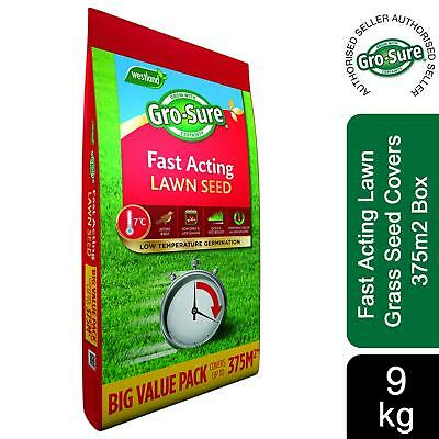 £66.99 • Buy Gro-sure Fast Acting Lawn Grass Seed Covers 375m2, 9kg Box