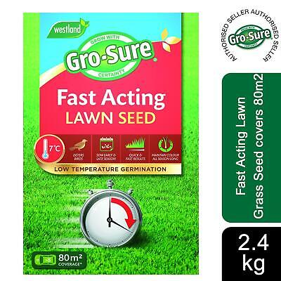 £26.49 • Buy Gro-sure Fast Acting Lawn Grass Seed Covers 80m2, 2.4kg Box
