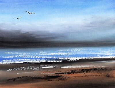 £12 • Buy WATERCOLOUR PAINTING SEASCAPE Calm Before Storm, Sea, Beach, Sarah Featherstone