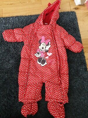 £0.99 • Buy Minnie Mouse Padded Spotty Snowsuit, Detachable Feet, Booties. Age 6-12 Months