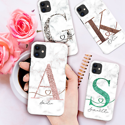 £1.99 • Buy Personalised Phone Case Marble Initials Cover For Iphone 12 11 Xr 7 Xs Silicone