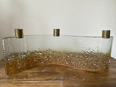 £1 • Buy Orange And Clear Glass Wave Candlestick Holder