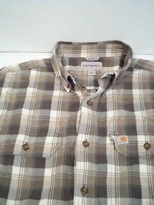 $0.99 • Buy Carhartt Men's Fort Shirt Size Large Relaxed Fit Button Down Chambray Top 102816
