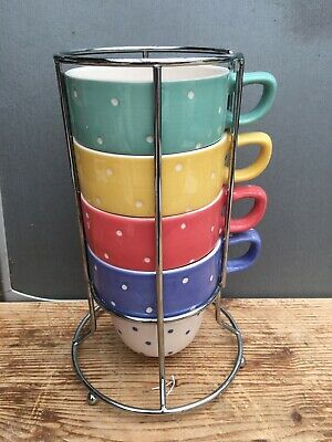 £5.99 • Buy M&S Spotty Stacking Mugs Spare Replacement Or Set. Pink Green Yellow Blue