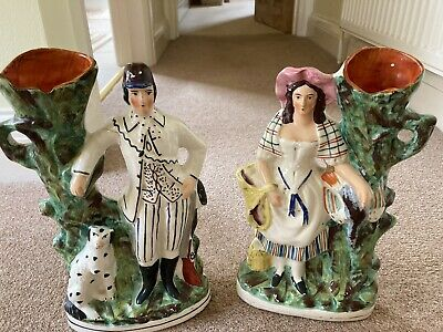 """£30 • Buy Pair Antique Staffordshire Figures Huntsman With Dog And Wife With Game  11""""tall"""