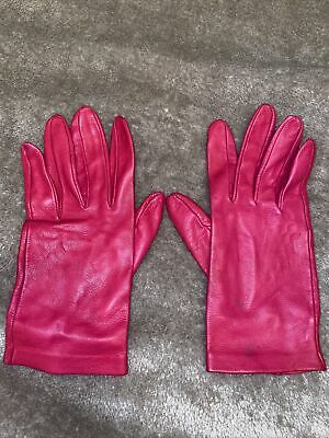 £4 • Buy Oasis Real Bright Pink Leather Gloves - Size Small