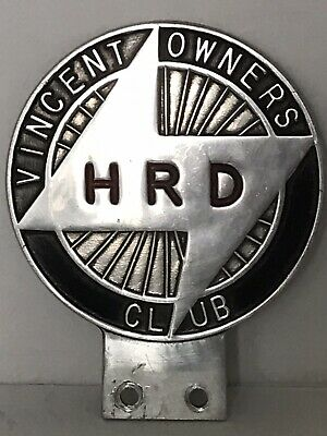 £45 • Buy Vincent HRD Owners Club Car Badge - Metal, Excellent Condition