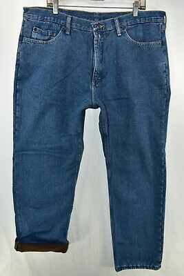 $23.99 • Buy Wrangler Fleece Lined Relaxed Insulated Jeans Mens Size 40x30 Blue Meas. 40x30.5