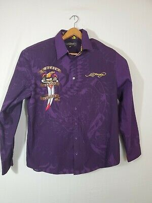 $22.41 • Buy Ed Hardy Christian Audigier Men's XL Death Before Dishonor Panther Purple