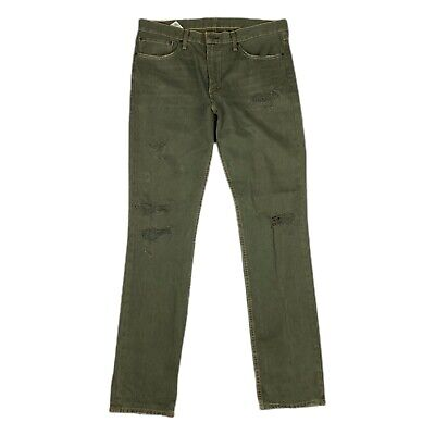 $32 • Buy Levis Mens 511 Olive Slim Fit Synthetic Denim Jeans 36 X 34 Distressed Faded