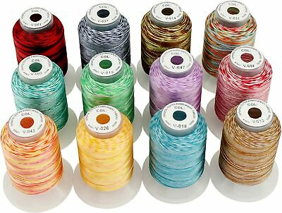 $27.89 • Buy Embroidery Machine Threads 12 Colors Variegated Polyester Kit 500m Each Spool