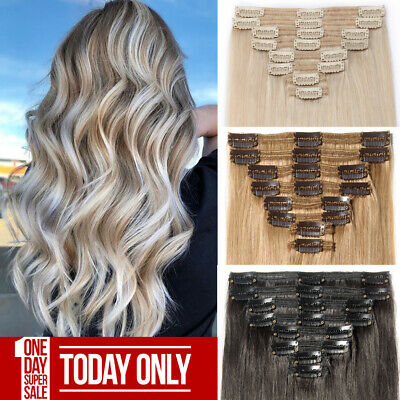 £36.78 • Buy Thick Clip In Russian Remy Real Human Hair Extensions Double Weft UK Clearance