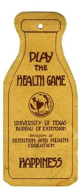 $49.95 • Buy Play The Health Game 1920's Milk Bottle Shaped Paper Record University Of Texas