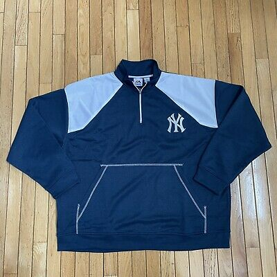 $49.99 • Buy New York Yankees Majestic 1/4 Zip Pullover Jacket Sweater Blue Mens Size 4XL