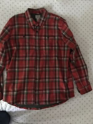 $38 • Buy LL Bean Mens Lined Flannel Plaid Slightly Fitted Lined Shirt Jacket Red XL NWOT