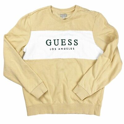 $25 • Buy Guess Long Sleeve Pullover Tan Crew Neck Graphic Sweatshirt Men's Size Large