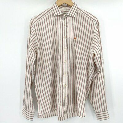 $40 • Buy Burberry London Mens White Striped Button Down Collared Small Long Sleeve Shirt