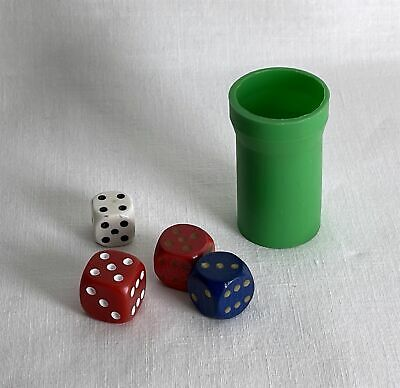£2.25 • Buy 4 Mixed Different Vintage Dice + Green Plastic Shaker
