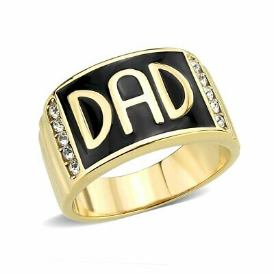 £18.99 • Buy Mens Dad Ring Gold Signet Pinky Band Black 18kt Steel Cubic Zirconia Gift 3760