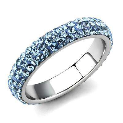 £18.99 • Buy Blue Topaz Band Ring Full Eternity Cz Silver Stainless Steel Stacking New3535