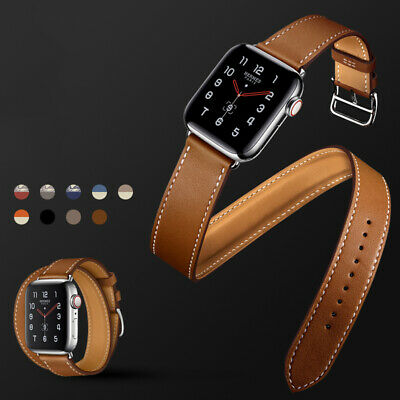 AU21.99 • Buy Slim Double Tour Leather Band Strap For Apple Watch 6 5 4 3 21 IWatch 38 40 44mm