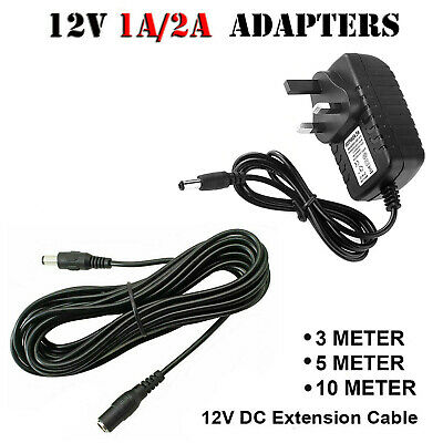 £3.59 • Buy AC/DC Power Supply Adapter 12V 1A 2A Safety Charger For LED Strip CCTV Camera UK