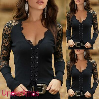£12.89 • Buy Women's Lace Long Sleeve Slim Fit Tops Shirt Ladies Sexy Blouse T Shirt Pullover