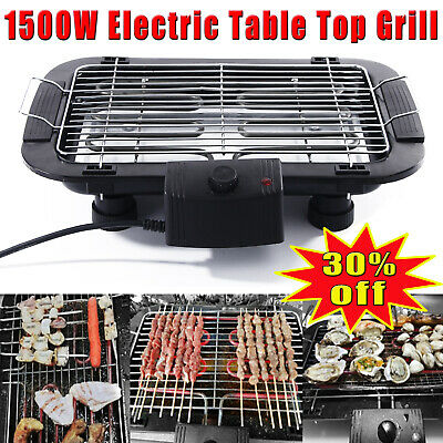 £26.81 • Buy 1500W Electric Table Top Grill BBQ Barbecue Garden Camping Cooking Indoor New !