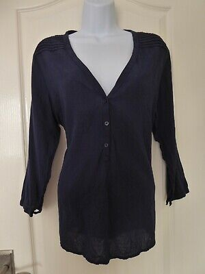 £12.99 • Buy Logg H&m Size 16 Navy Blue 100% Cotton Half Button Long Sleeved Top New With Tag