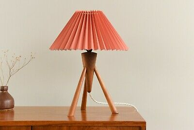 £150 • Buy Vintage Small Teak Tripod Table Lamp With New Terracotta Pleated Shade