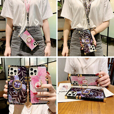 AU14.94 • Buy For IPhone 12 11 XS Max XR 7 8 Case Luxury Flower With Ring Square Phone Cover