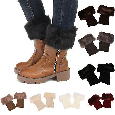 £3.98 • Buy Ladies Faux Fur Cuffs Toppers Trim Ankle Leg Knitted Winter Warmer Boot Socks