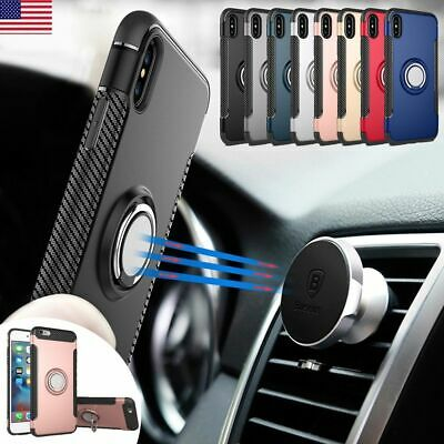 AU8.01 • Buy For IPhone 12 Pro Max 11 XS XR 8 Ring Finger With Magnetic Car Mount Case Cover