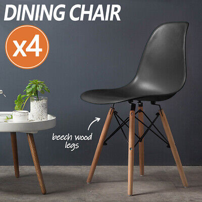 AU49 • Buy 4 X Retro Replica DSW Dining Chair Cafe Kitchen Wood Legs Plastic Chairs