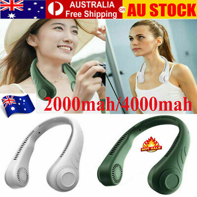 AU29.89 • Buy Portable USB Leafless Neck Fan Cooler Rechargeable Dual Effect Cooling Neckband✨