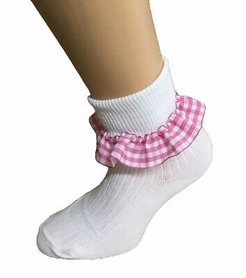 £4.85 • Buy Girls Ankle Turn Over Top Socks With PINK Gingham Trim 3 Pairs School Sizes