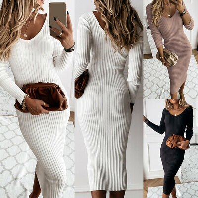£12.99 • Buy Womens V Neck Bodycon T-shirt Dress Ladies Party Casual Long Sleeve Dresses