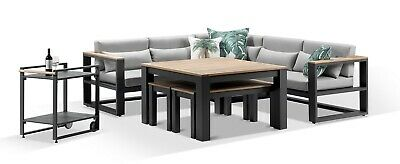 AU4690 • Buy NEW Balmoral Outdoor Aluminium Lounge And Dining Setting With Bar Cart   Timber
