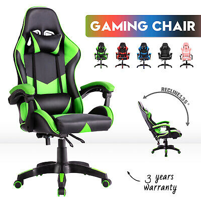 AU119.90 • Buy Gaming Chair Racing Office Executive Computer Seating Racer Recliner PU Chairs