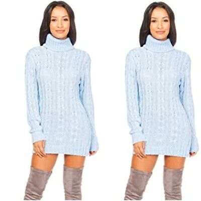 £13.89 • Buy Ladies Womens Chunky Cable Knitted High Polo Roll Neck Stretch Jumper Mini Dress