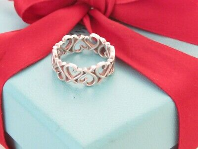 £166.99 • Buy Tiffany & Co Sterling Silver Loving Heart Link Picasso Band Ring Size 6