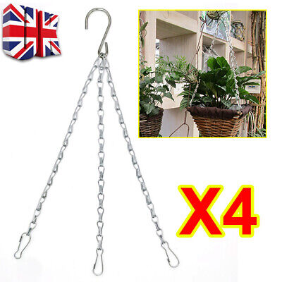 £4.99 • Buy 4 X Garden Hanging Basket Chains Replacement Easy Fit Spare Metal Hanger Hook W