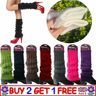 £5.99 • Buy Winter Warm Leg Cable Knit Ladies Girls Knitted Socks Cuff Leggings Boot Knee