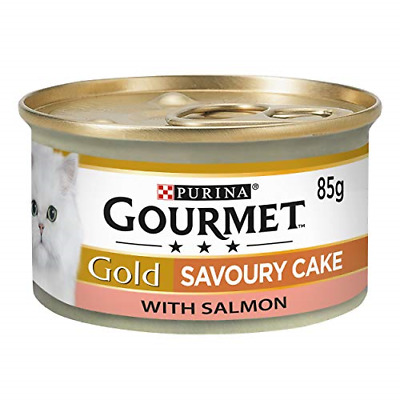 £8.59 • Buy Gourmet Gold Wet Cat Food Savoury Cake Salmon Can Adult, 85g - Pack Of 12
