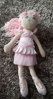 £3.19 • Buy Girls Doll With Jessica Across The Chest Pink 37cm Stuffed Cuddly Toy