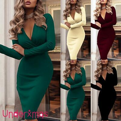 £13.19 • Buy SEXY Womens V Neck Bodycon Midi Dress Ladies Cocktail Evening Party Long Dresses