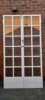 £288.88 • Buy 1 X Pair Reclaimed Georgian Wood French Doors Glazed + Rebated LOVELY CONDITION