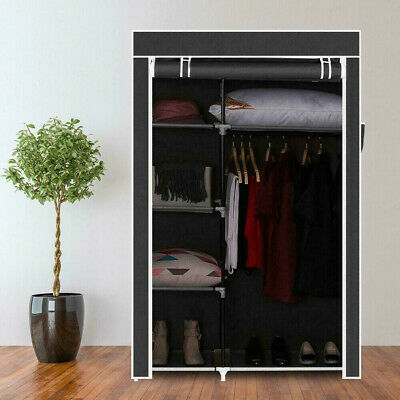 £16.79 • Buy Portable FABRIC CANVAS WARDROBE WITH HANGING RAIL SHELF CLOTHES STORAGE CUPBOARD