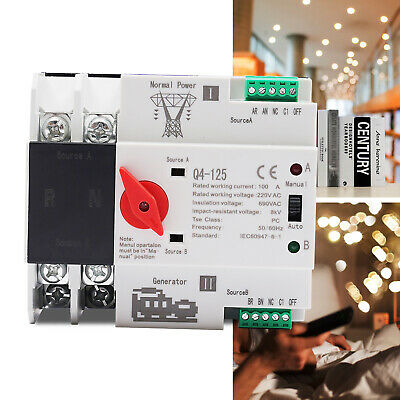 £34.99 • Buy 2P 100A Dual Power Automatic Transfer Switch Generator Changeover Switch 220V